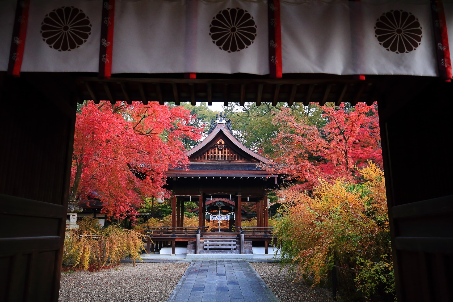 梨木神社の神門の下から眺めた拝殿と紅葉