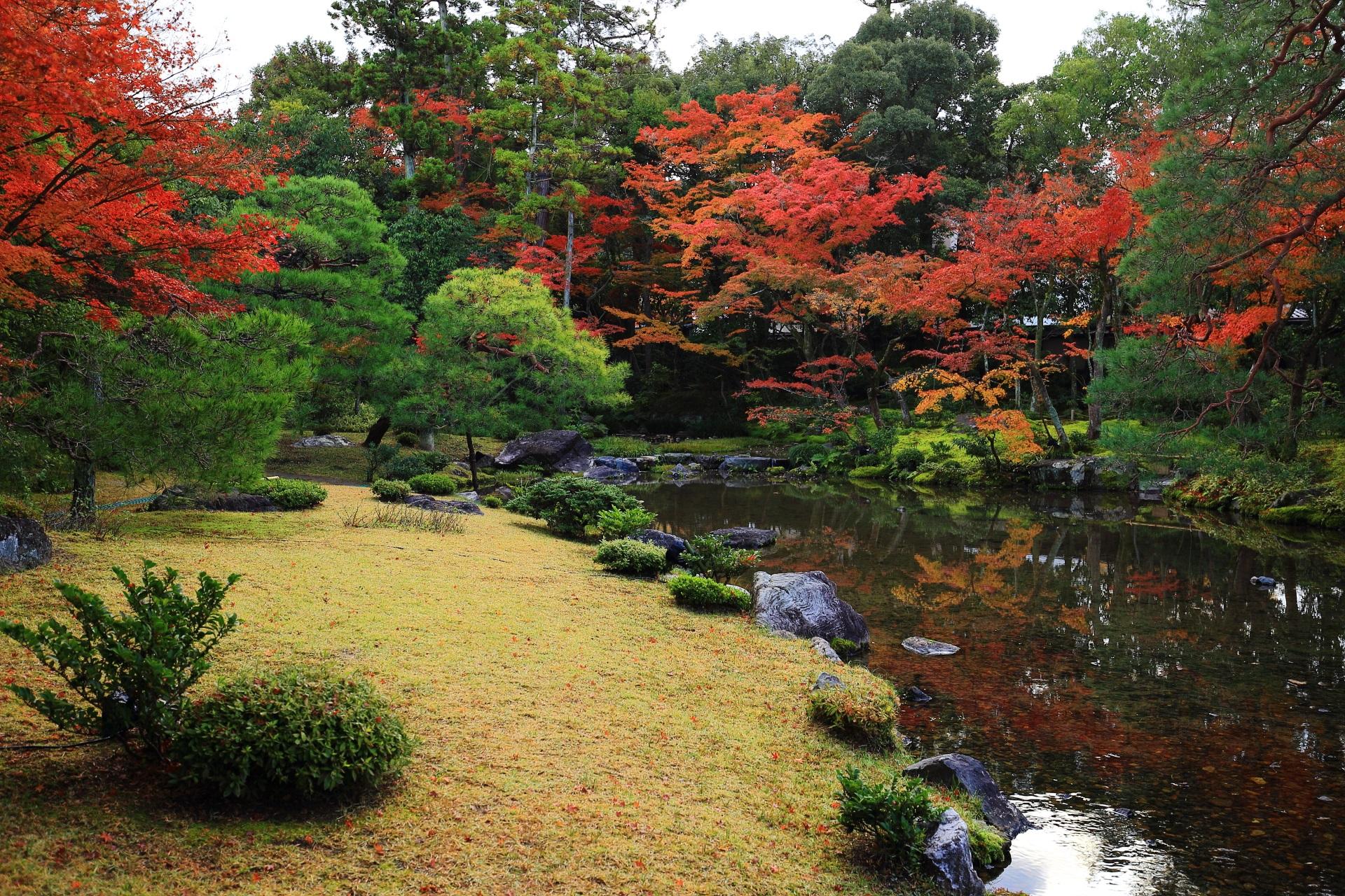 水辺で色とりどりの紅葉が華やぐ無鄰菴
