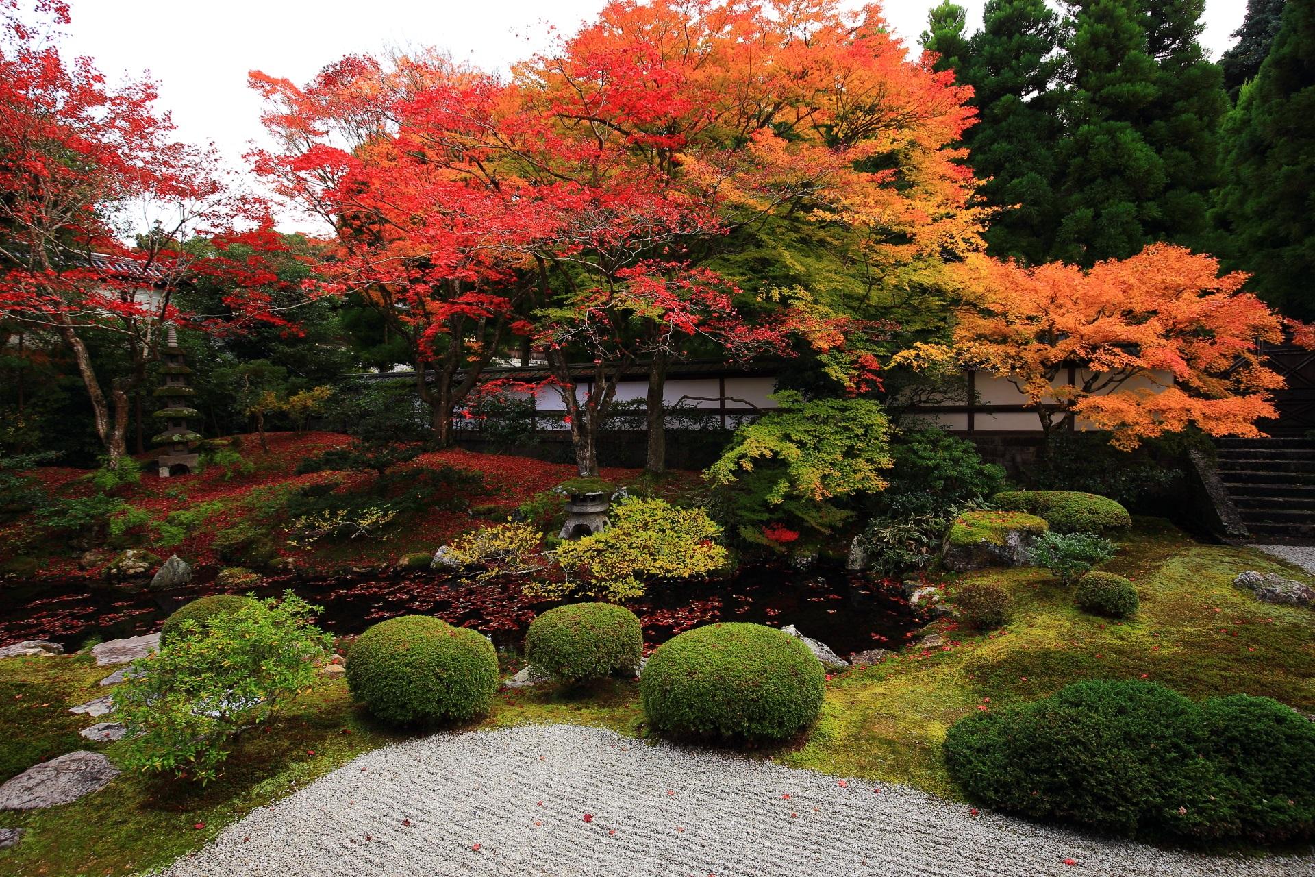 色とりどりに鮮やかに染まる御座所庭園