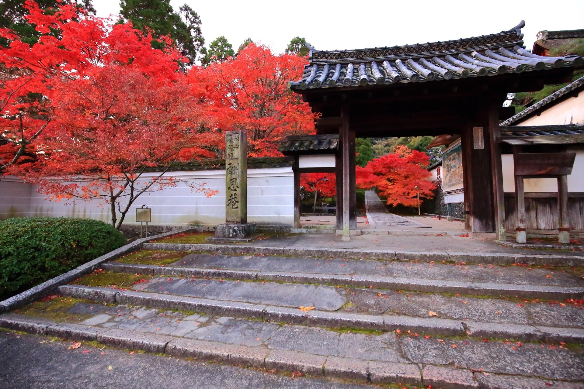 一休寺の総門と紅葉