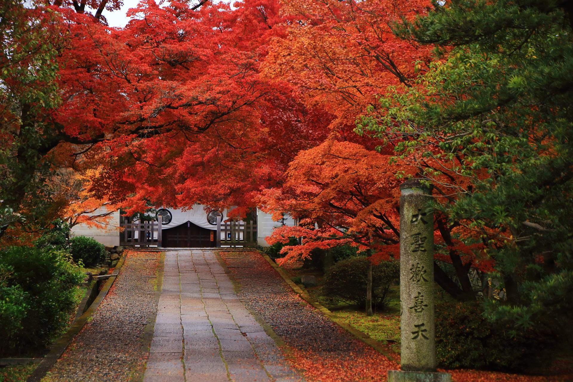 養源院の「大聖天歓喜天」の石柱と参道の紅葉