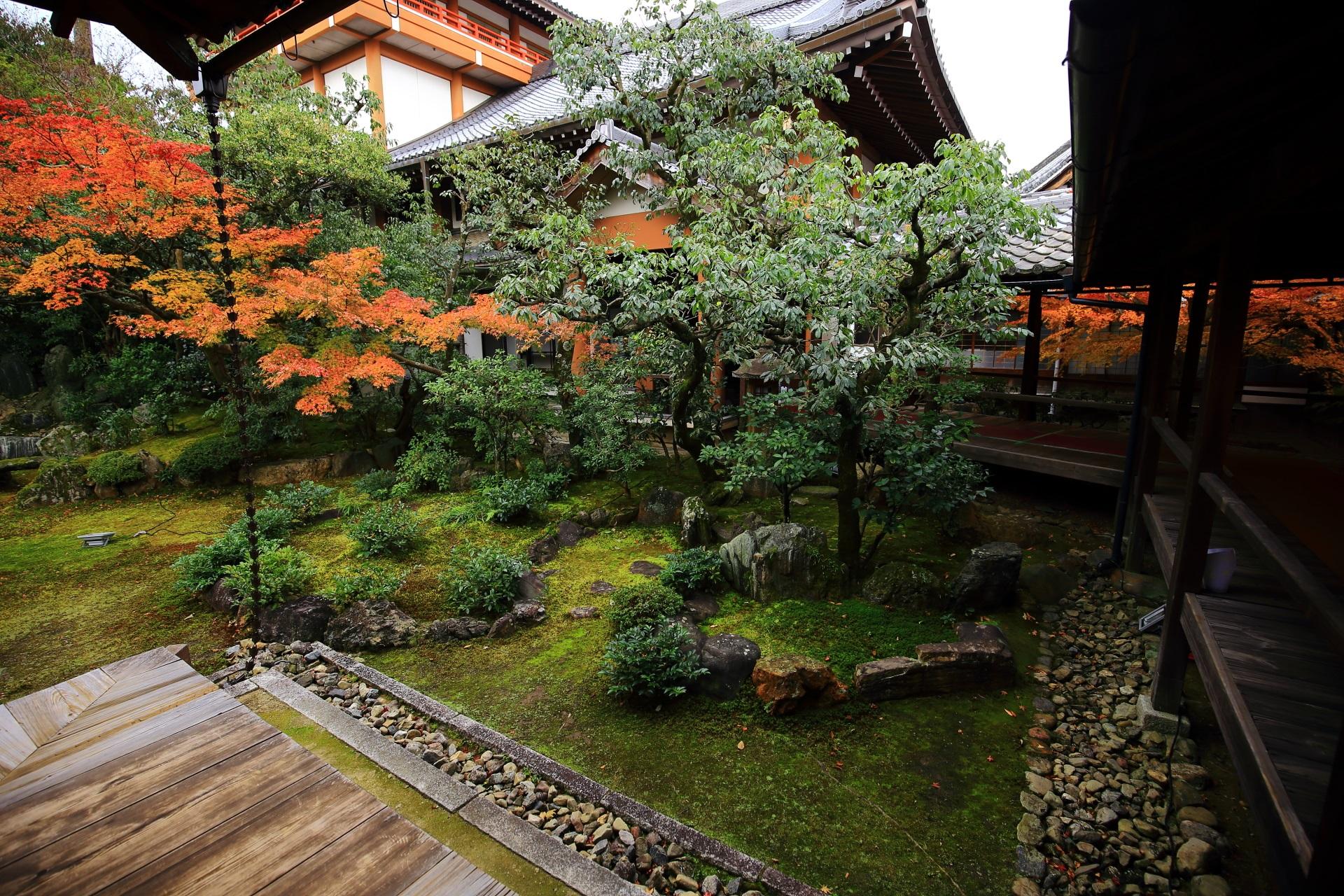 秋色につつまれる巴の庭の回廊に囲まれた苔と岩の築山
