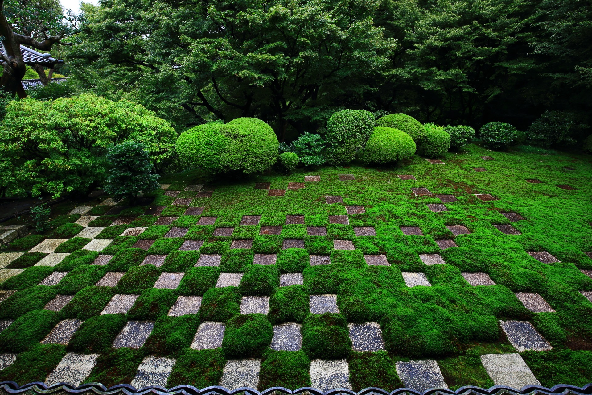 緑の苔の市松模様で知られる東福寺の方丈庭園