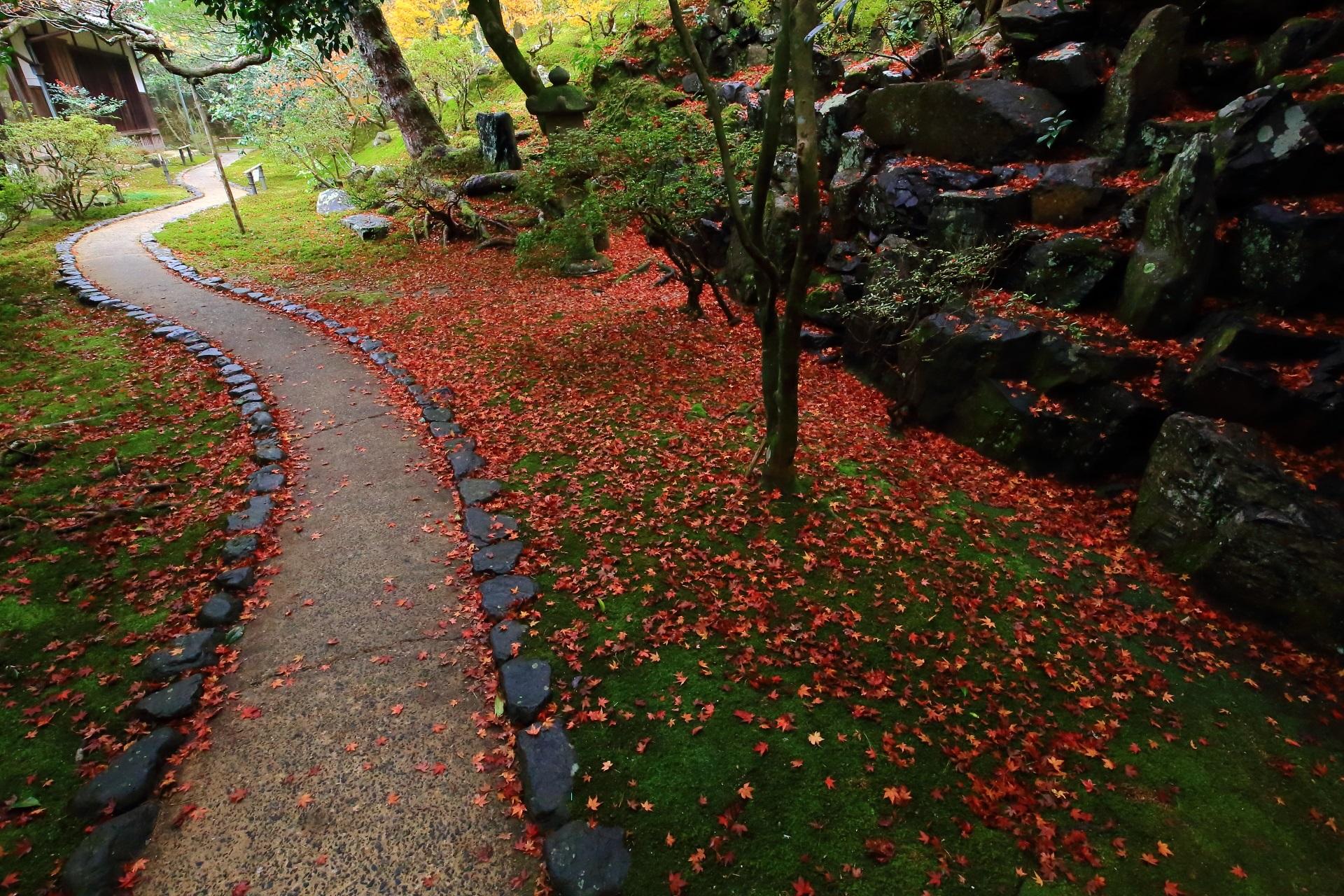 緩やかな曲線を描く参道と見事な散り紅葉