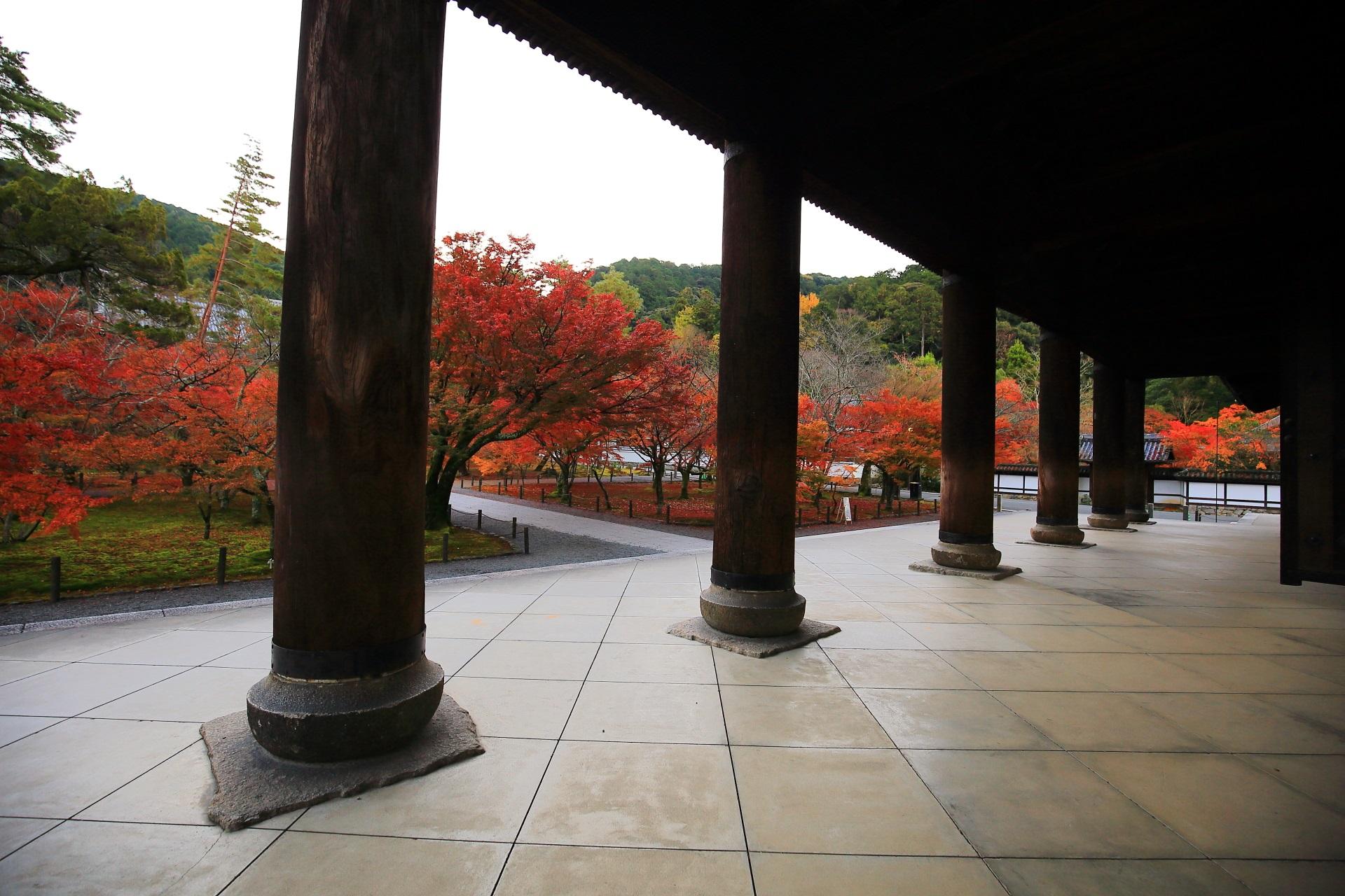 三門の柱越しに眺める色とりどりの紅葉