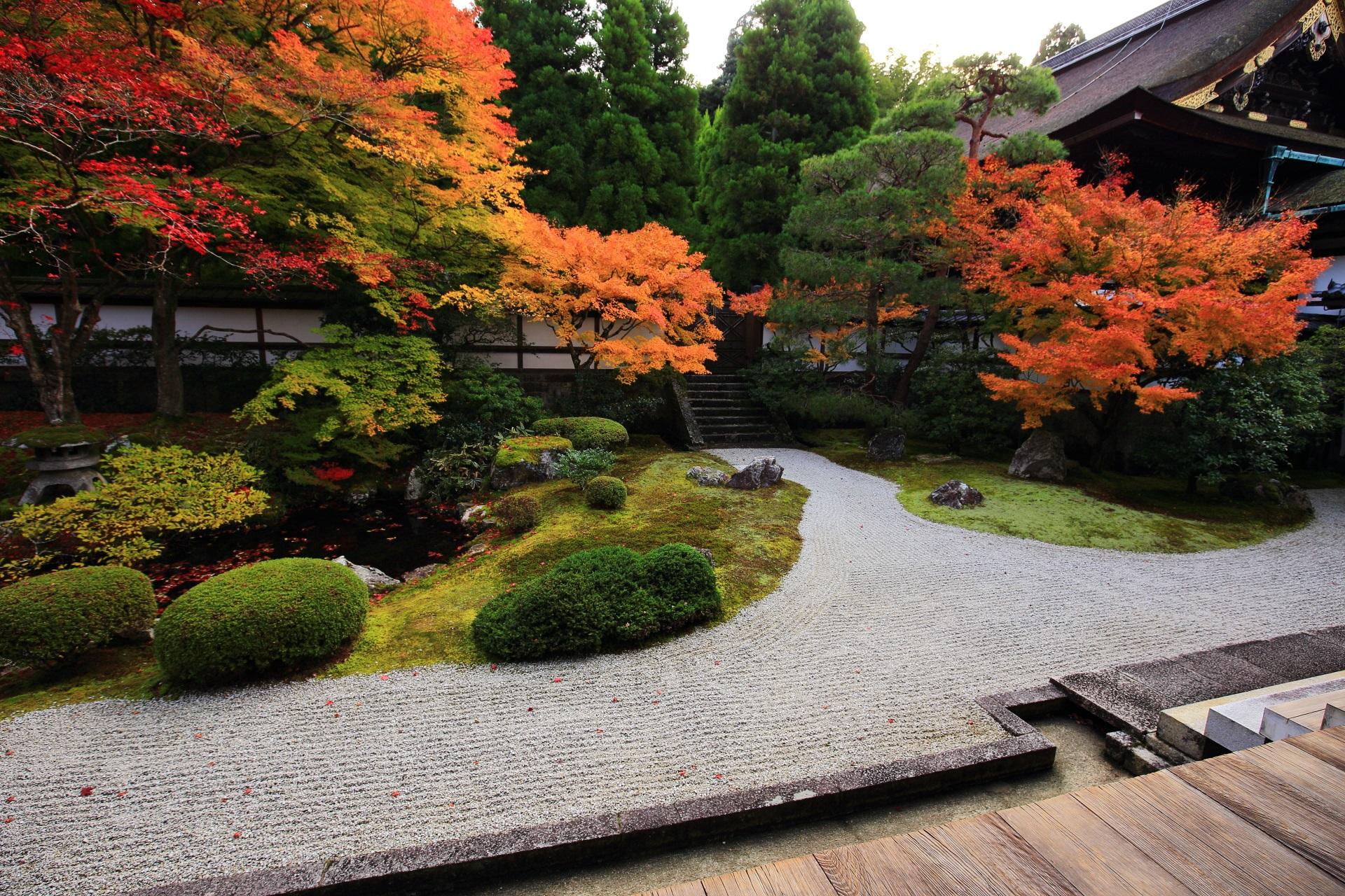 泉涌寺の枯山水庭園と池泉式庭園の融合したような庭園の秋の彩り