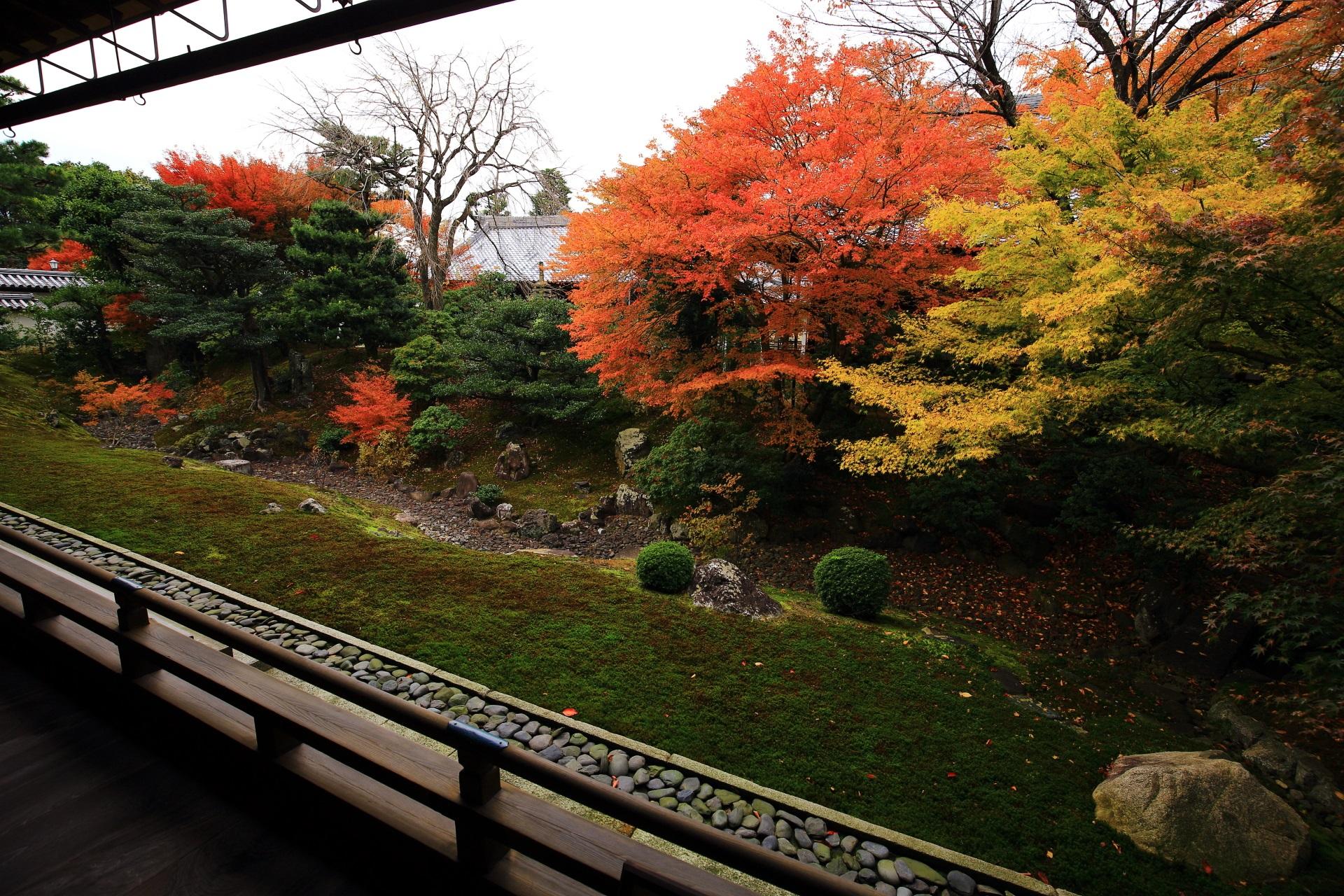 庭園を彩る黄色とオレンジ色の華やかな紅葉