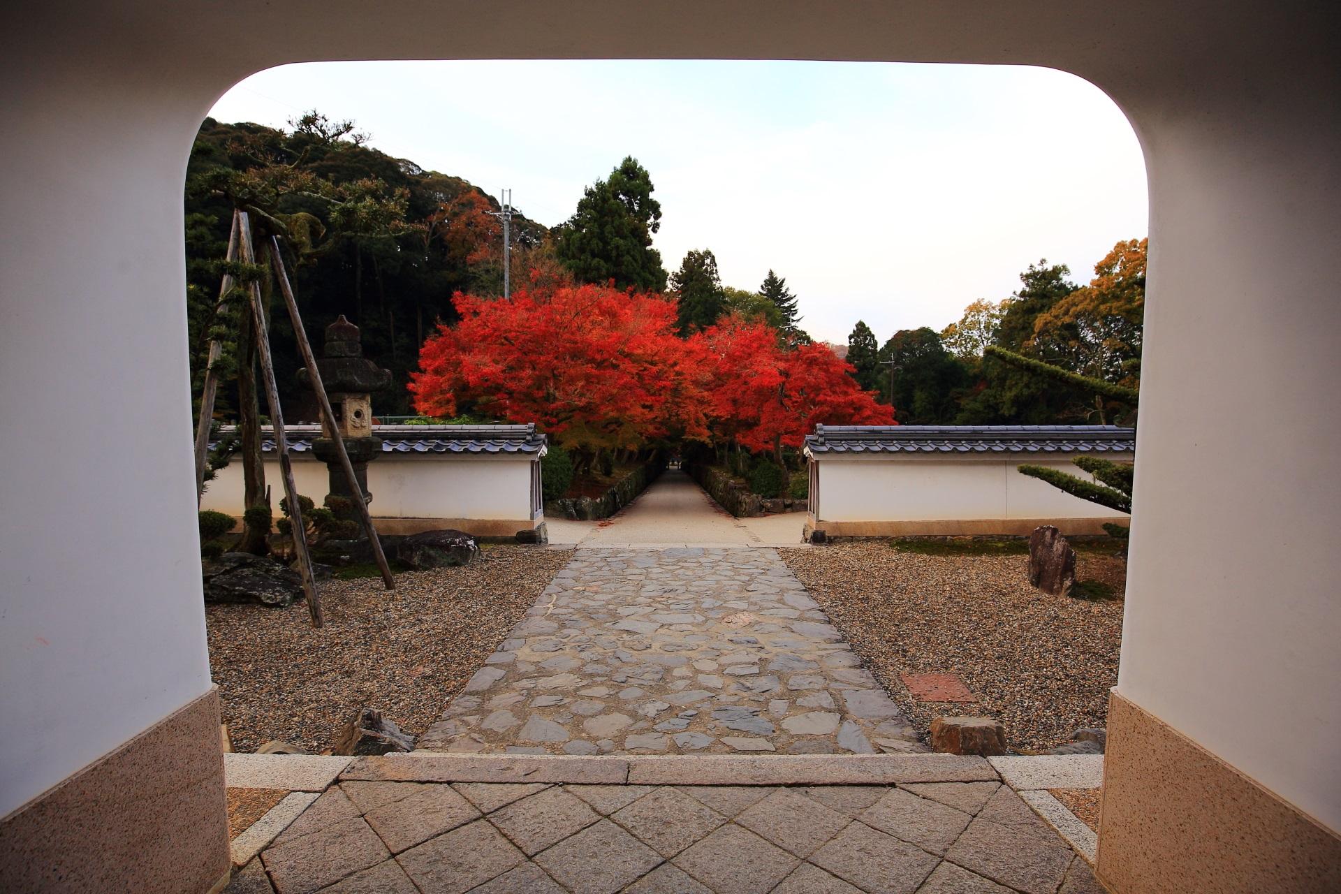 興聖寺の山門下から眺めた琴坂の紅葉