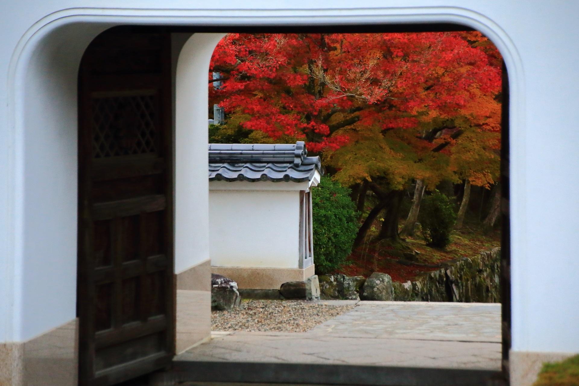 白い山門と奥に見える多彩な紅葉