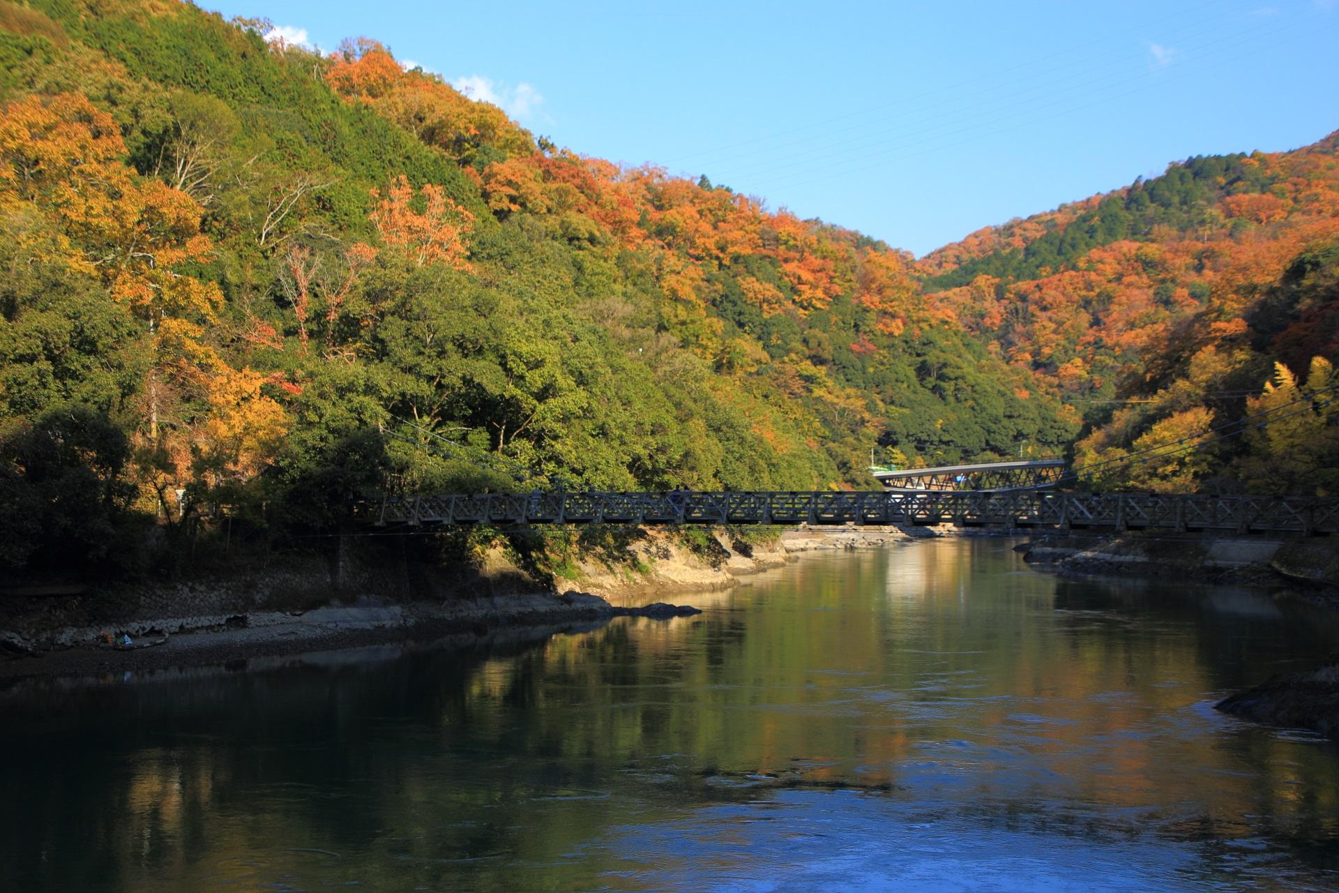天ヶ瀬吊橋と宇治川を彩る暖かな紅葉