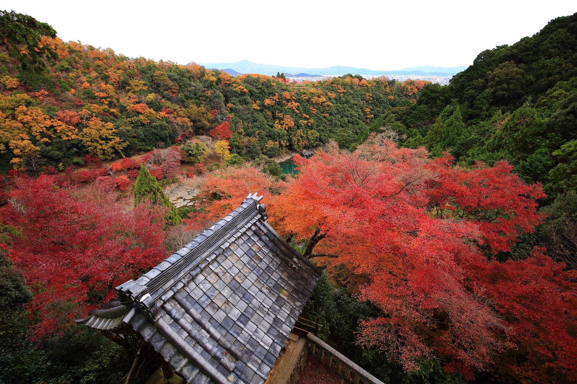 大悲閣 千光寺 紅葉 秋色にそまる嵐山の秘境