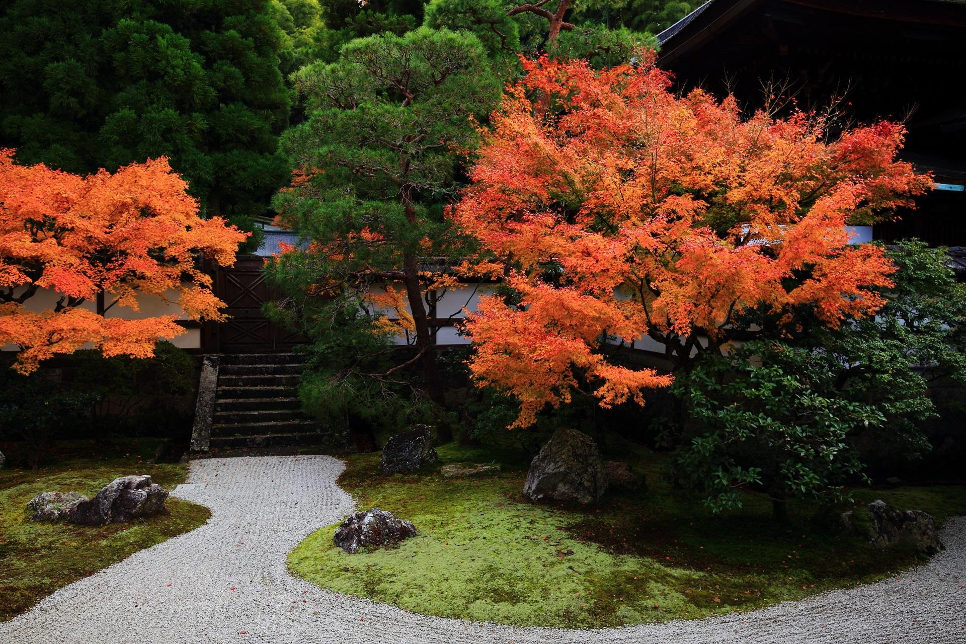 秋も深まりしっかり色づいた庭園