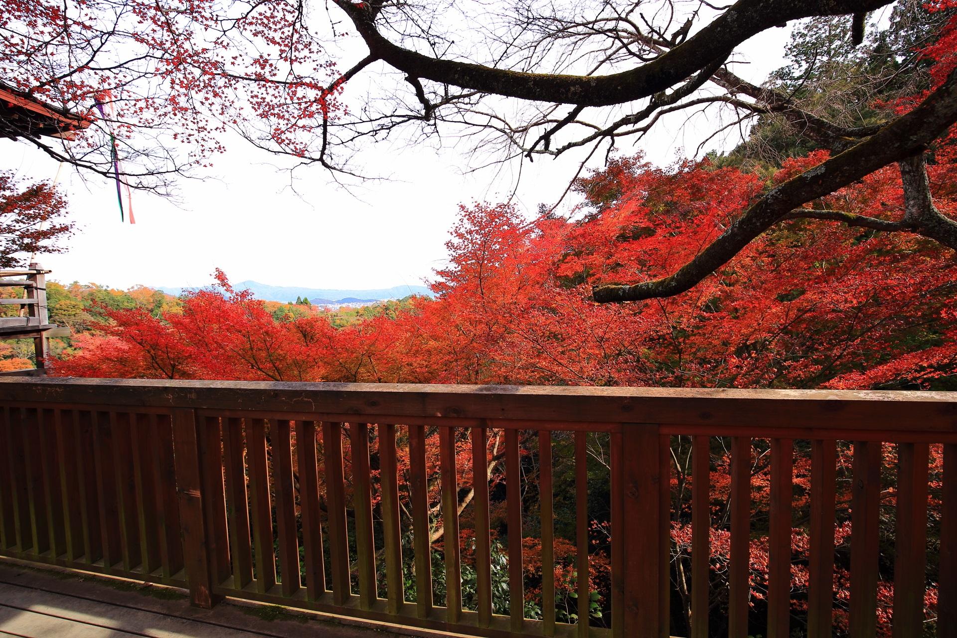 大悲閣千光寺の茶所から眺める紅葉と秋の山