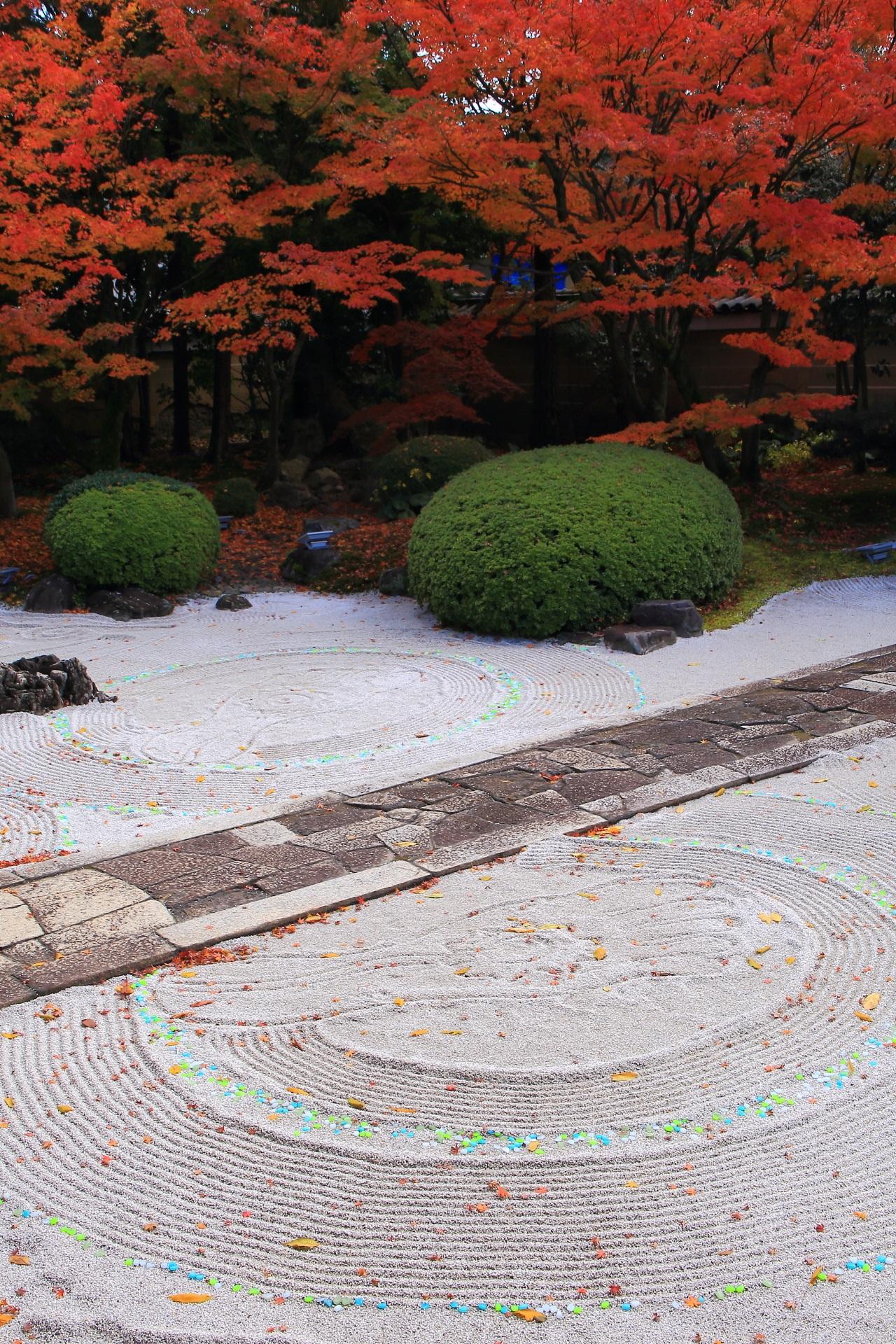 煌びやかな石が配され美しい文様の描かれた妙顕寺の秋の四海唱導の庭