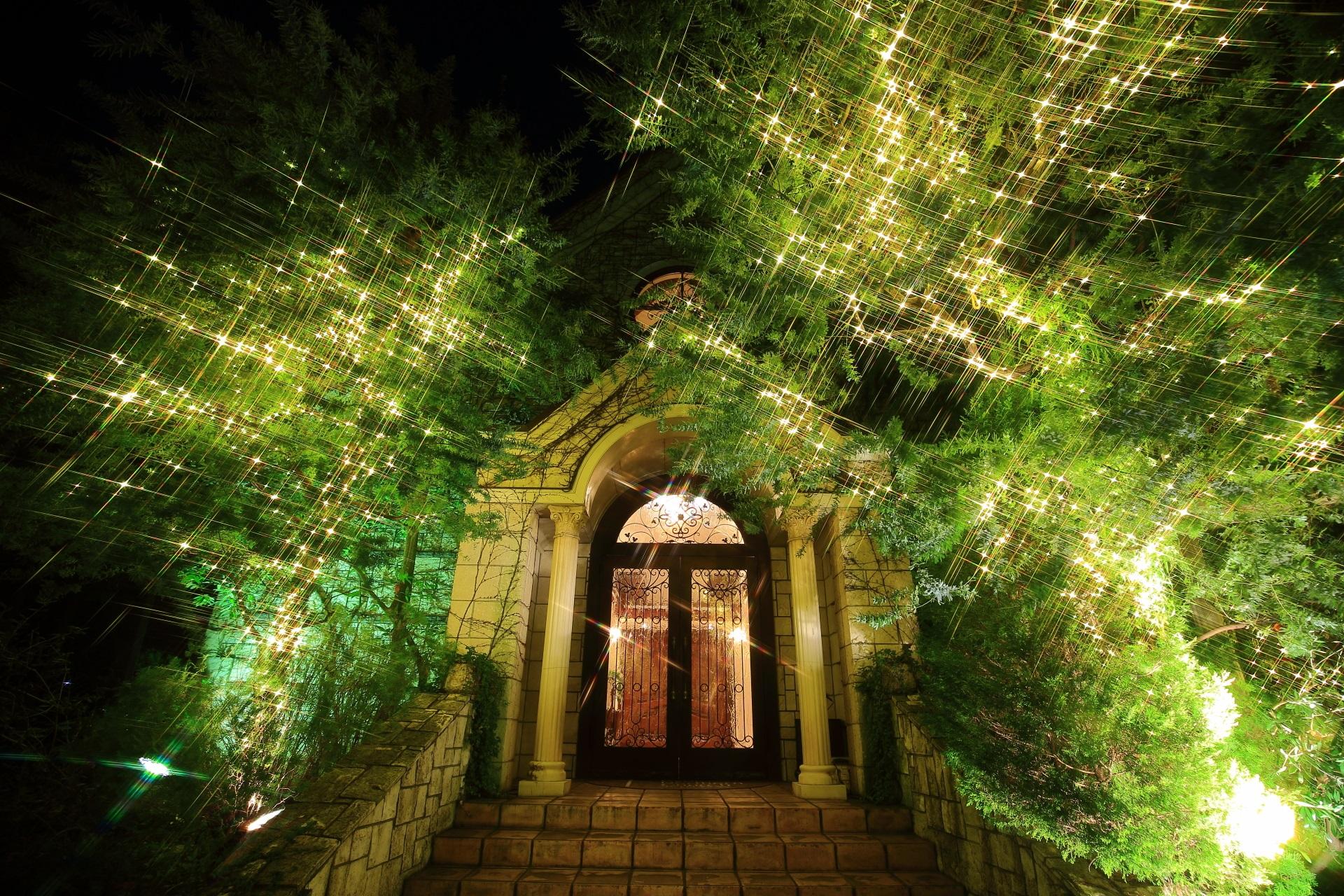 高画質 写真 京都ノーザンチャーチ北山教会 イルミネーション