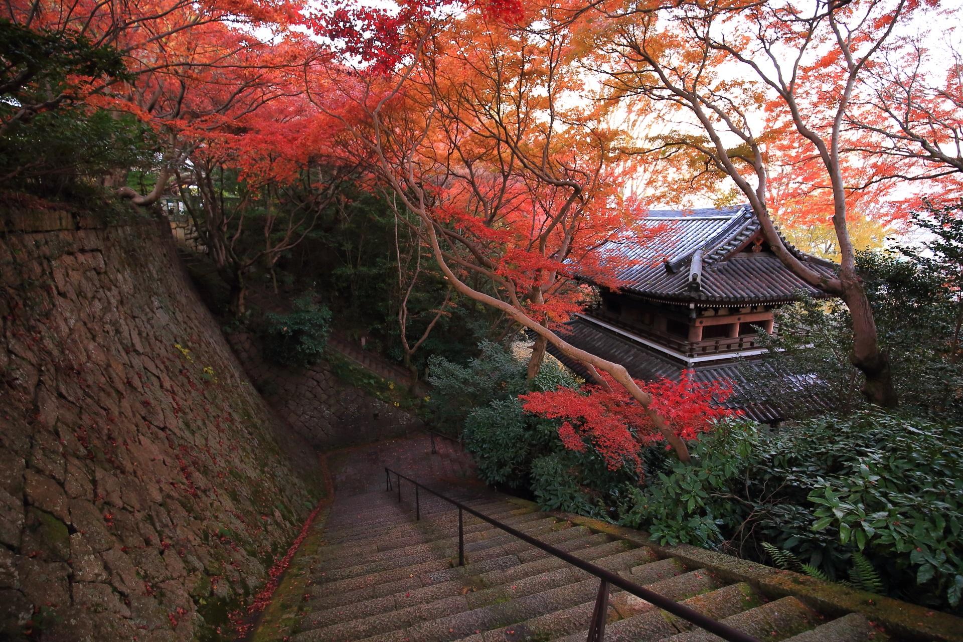 秋色に染まる風情ある石段