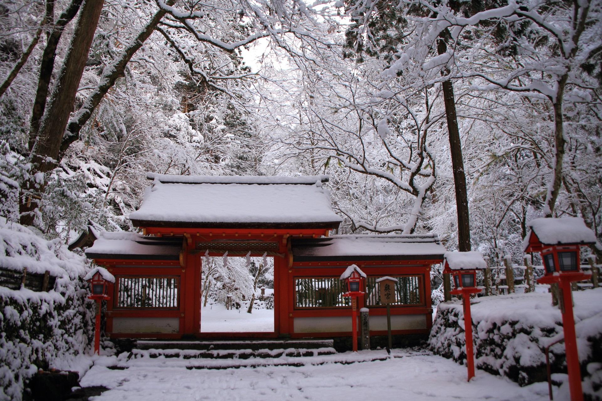貴船神社の溢れる雪の花につつまれる朱色の門と燈籠