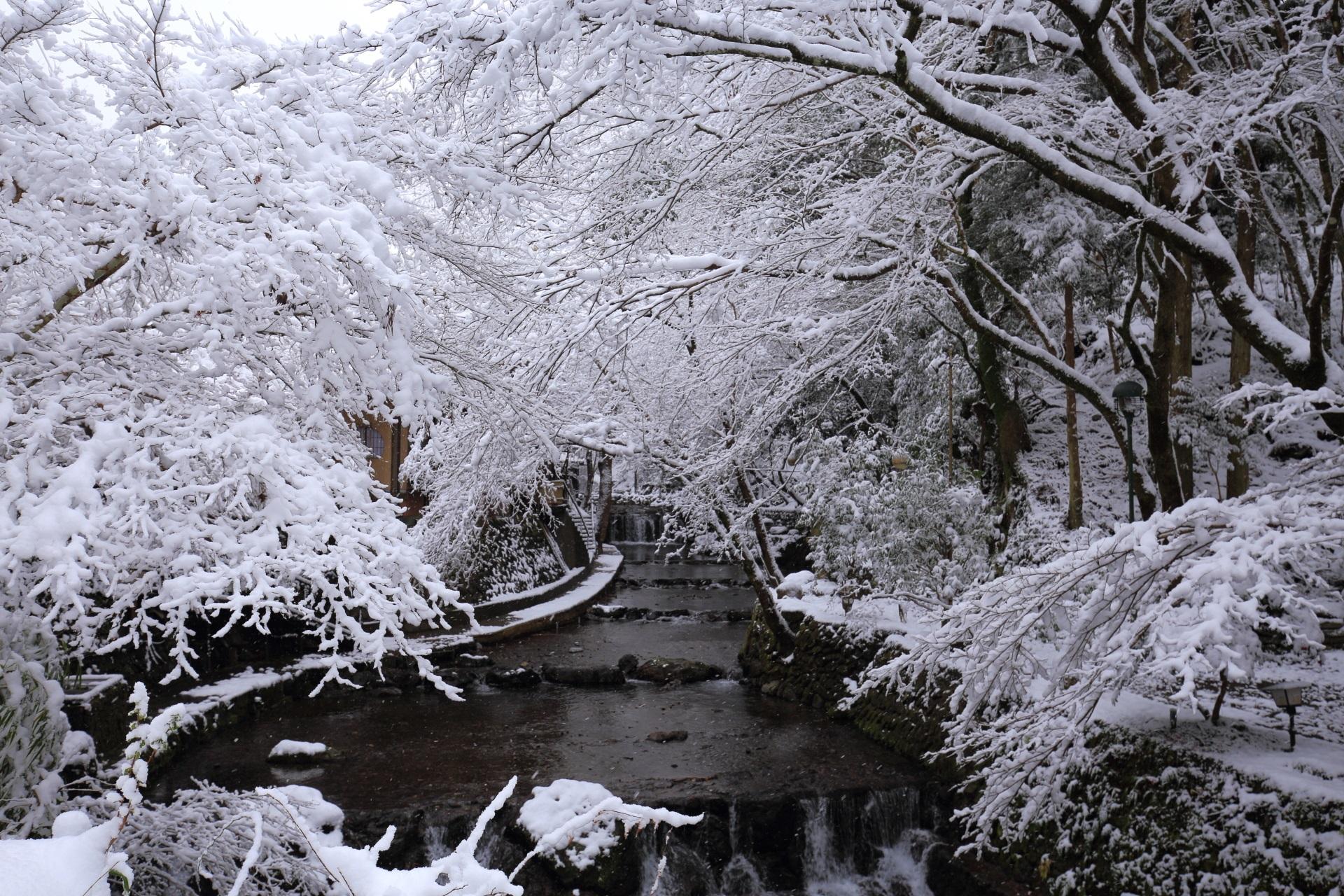 高画質 写真 貴船川 雪景色