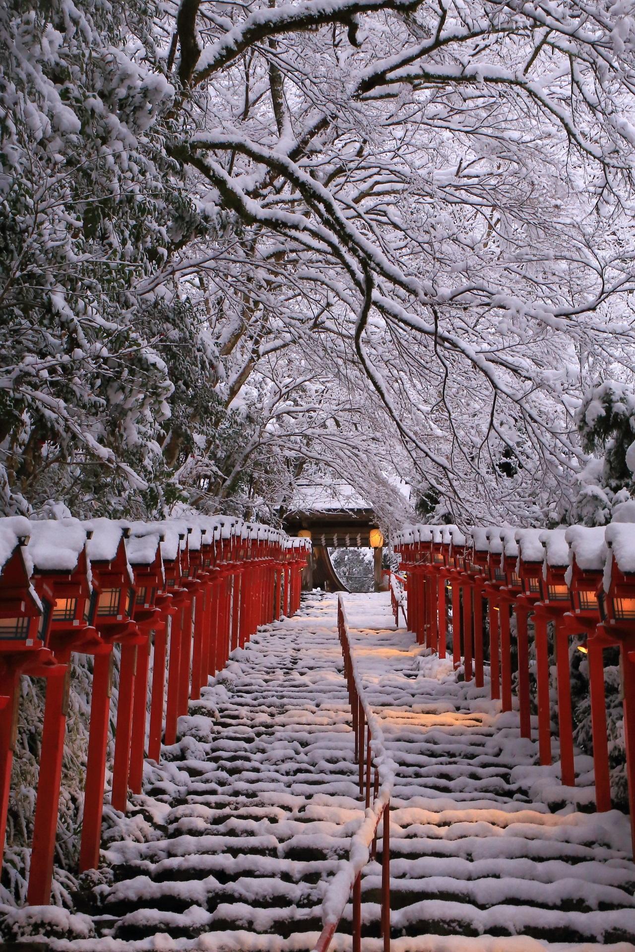 貴船神社 雪 高画質 画像