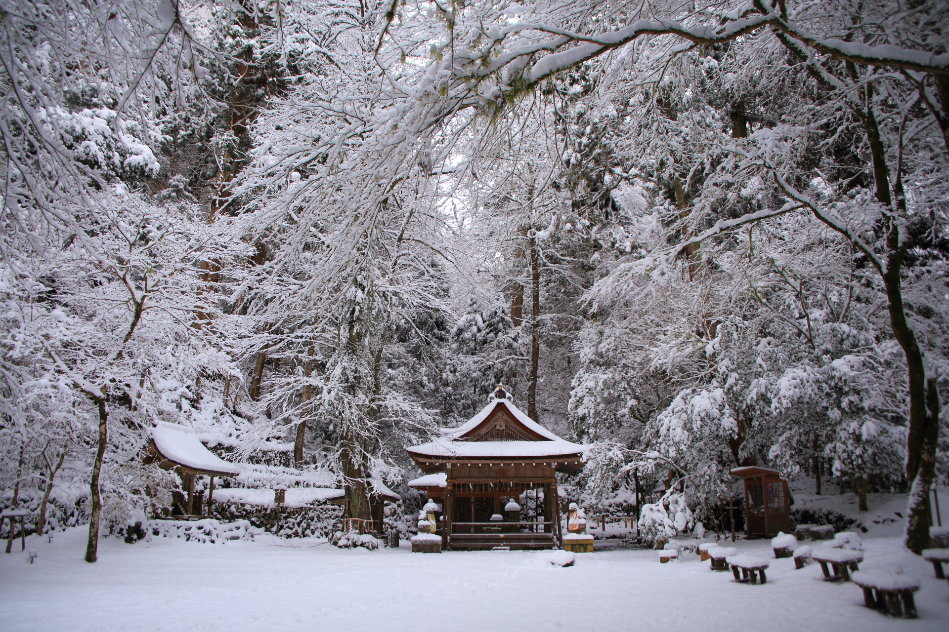 貴船神社奥宮の圧倒的な雪景色