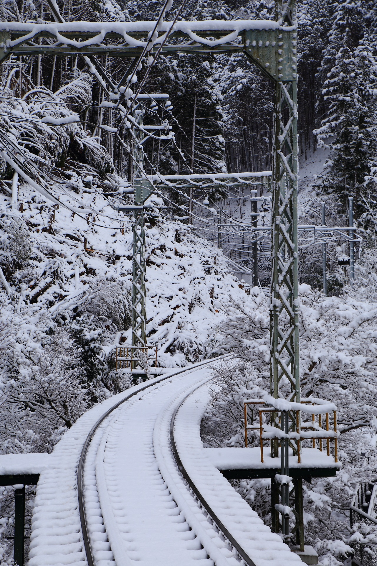 貴船口の見事な雪の線路