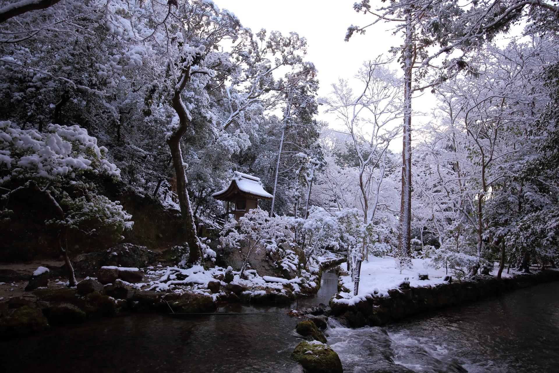 上賀茂神社内を流れる「御手洗川(みたらし川)」の雪景色