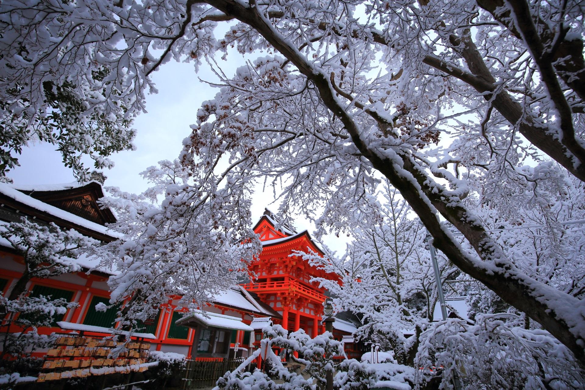 上賀茂神社の雪の花に覆われた楼門