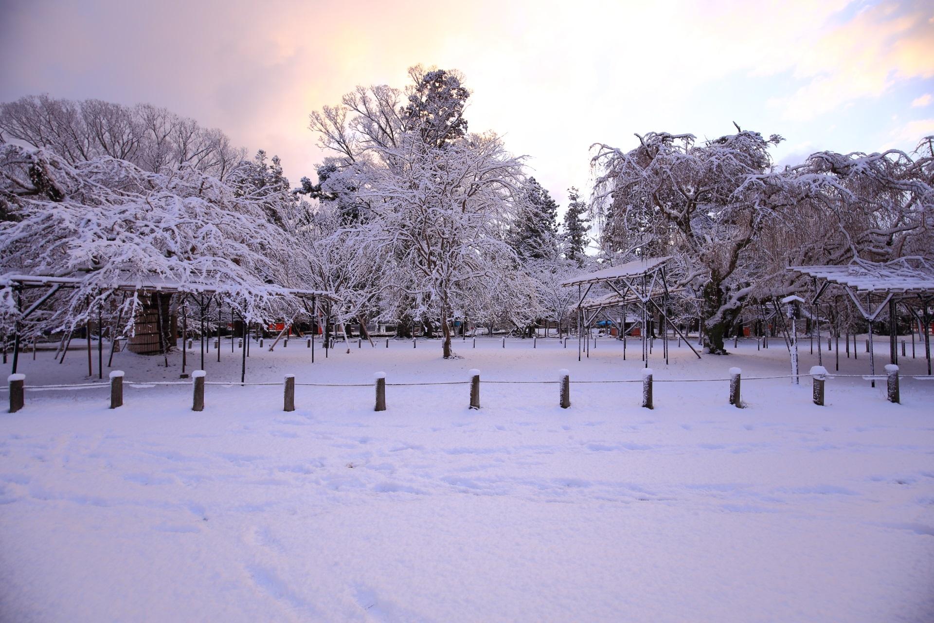上賀茂神社の朝焼けの雪景色