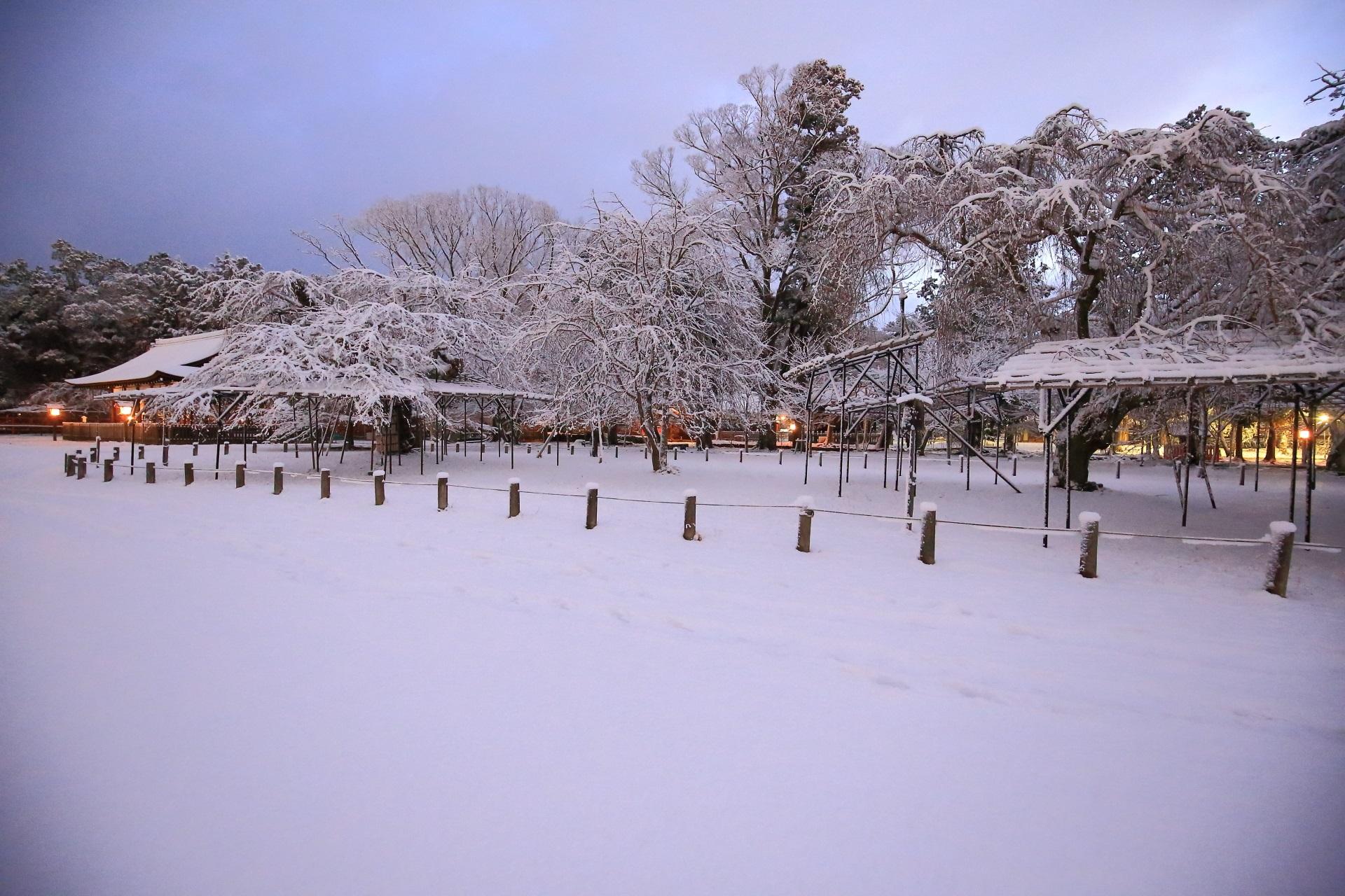 上賀茂神社の静寂の中の極上の雪景色
