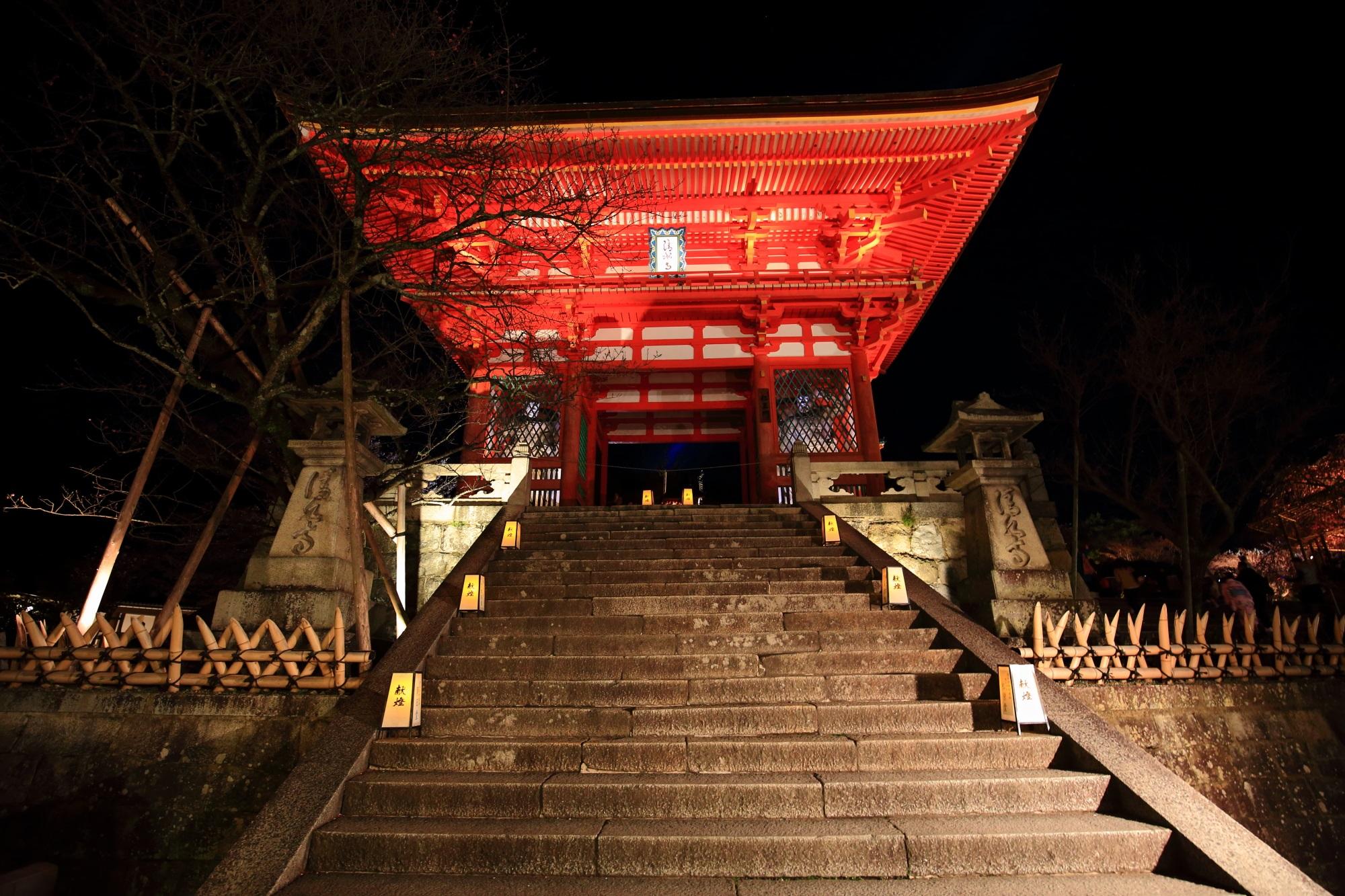 清水寺の仁王門のライトアップ