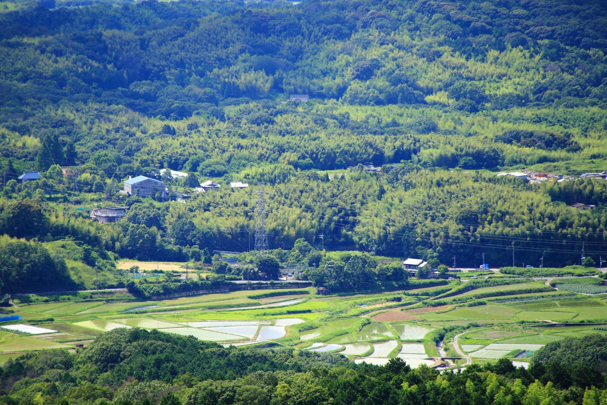 岩船寺から眺める山城の良い感じの長閑な棚田や田んぼ