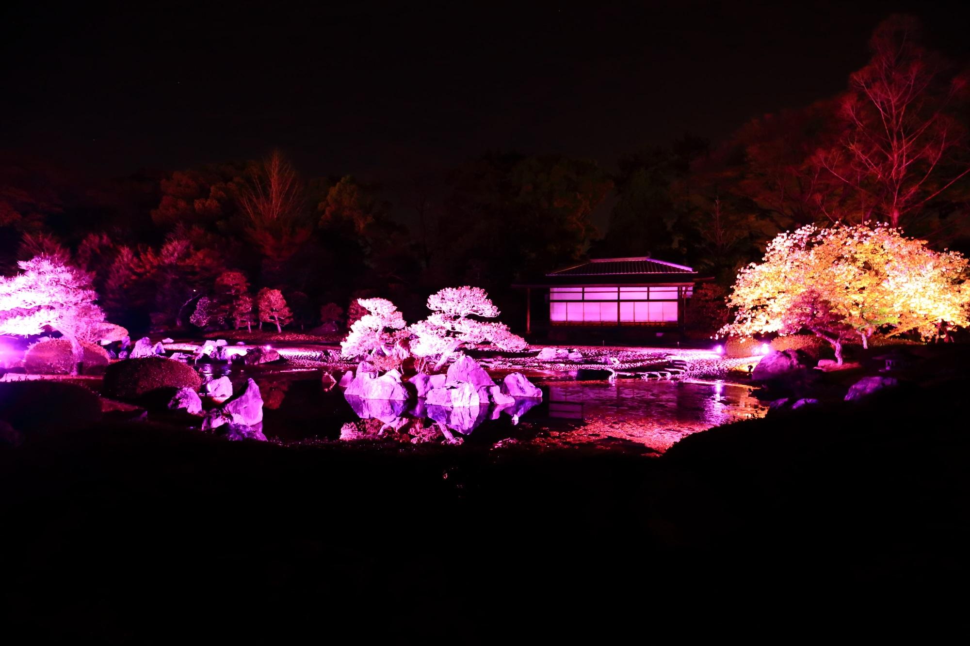 時間ごとに色が変わる二条城の清流園のライトアップ