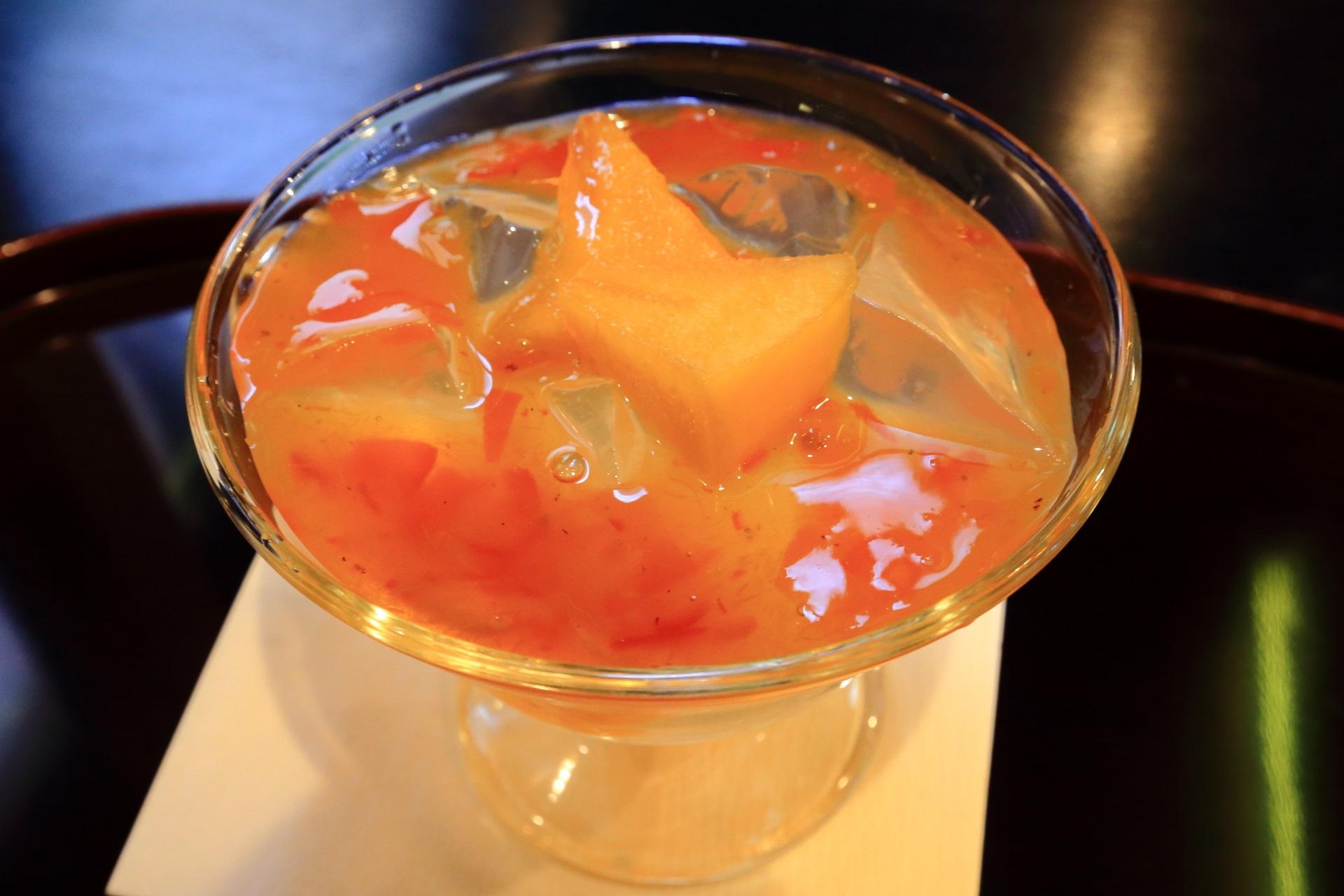 甘めでトロッとした蜜の柿味の琥珀流し