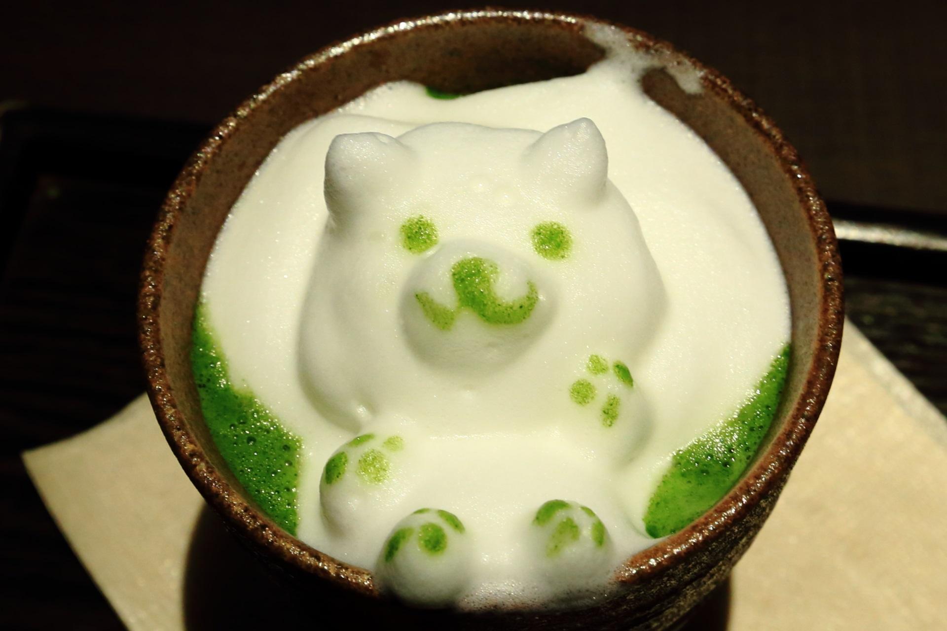3Dラテアート 熊さん 可愛い 茶寮翠泉