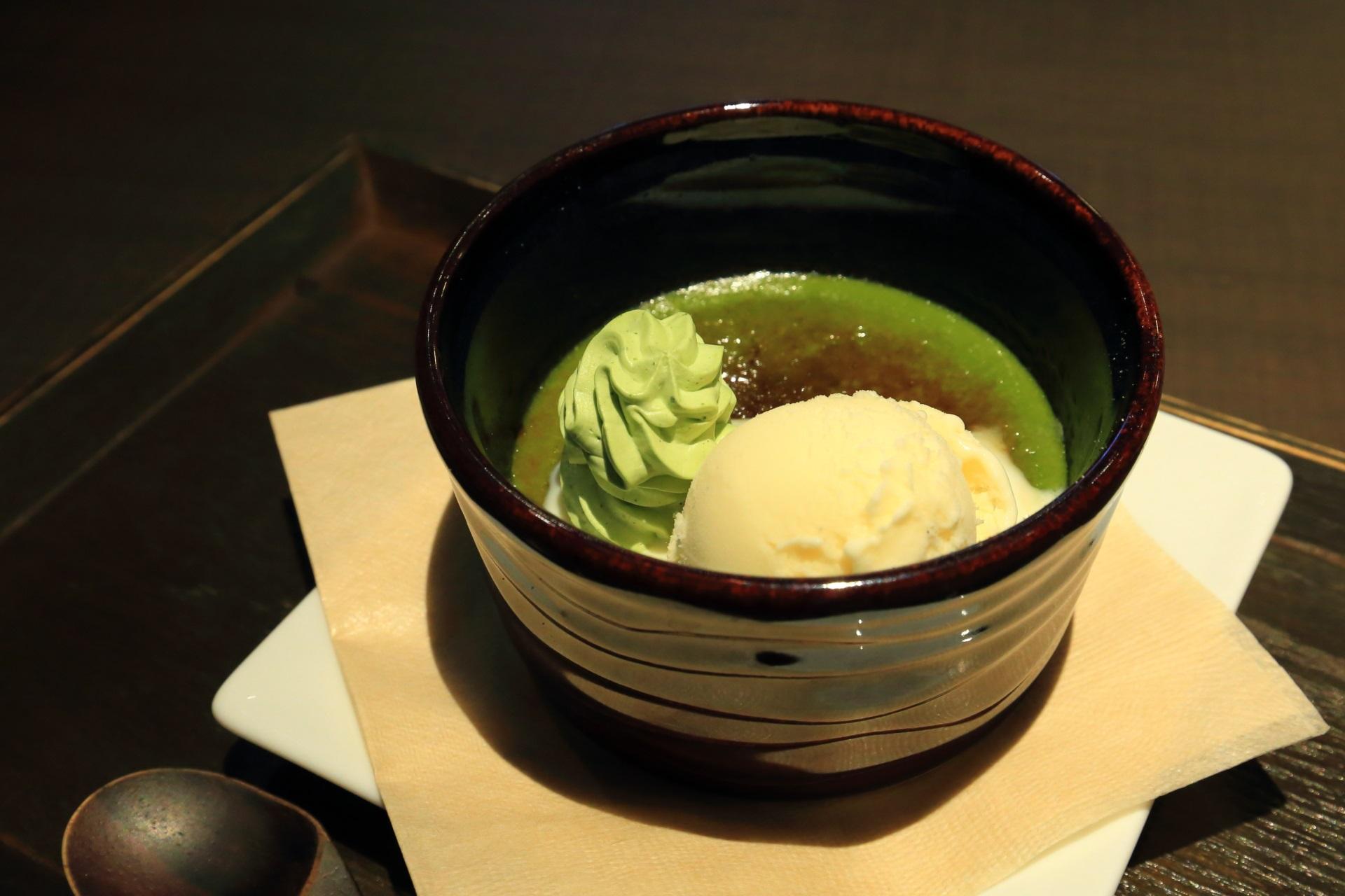 お濃い抹茶プリンせっと 茶寮翠泉(さりょうすいせん) 京都の甘味処 抹茶とプリンのおもてなし