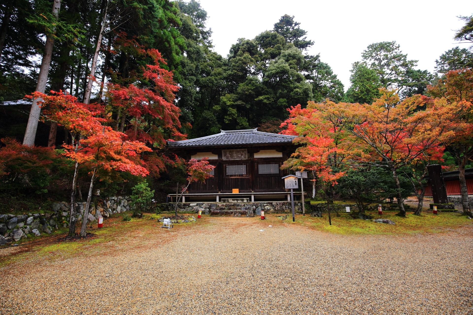 神護寺の明王堂と色とりどりの紅葉