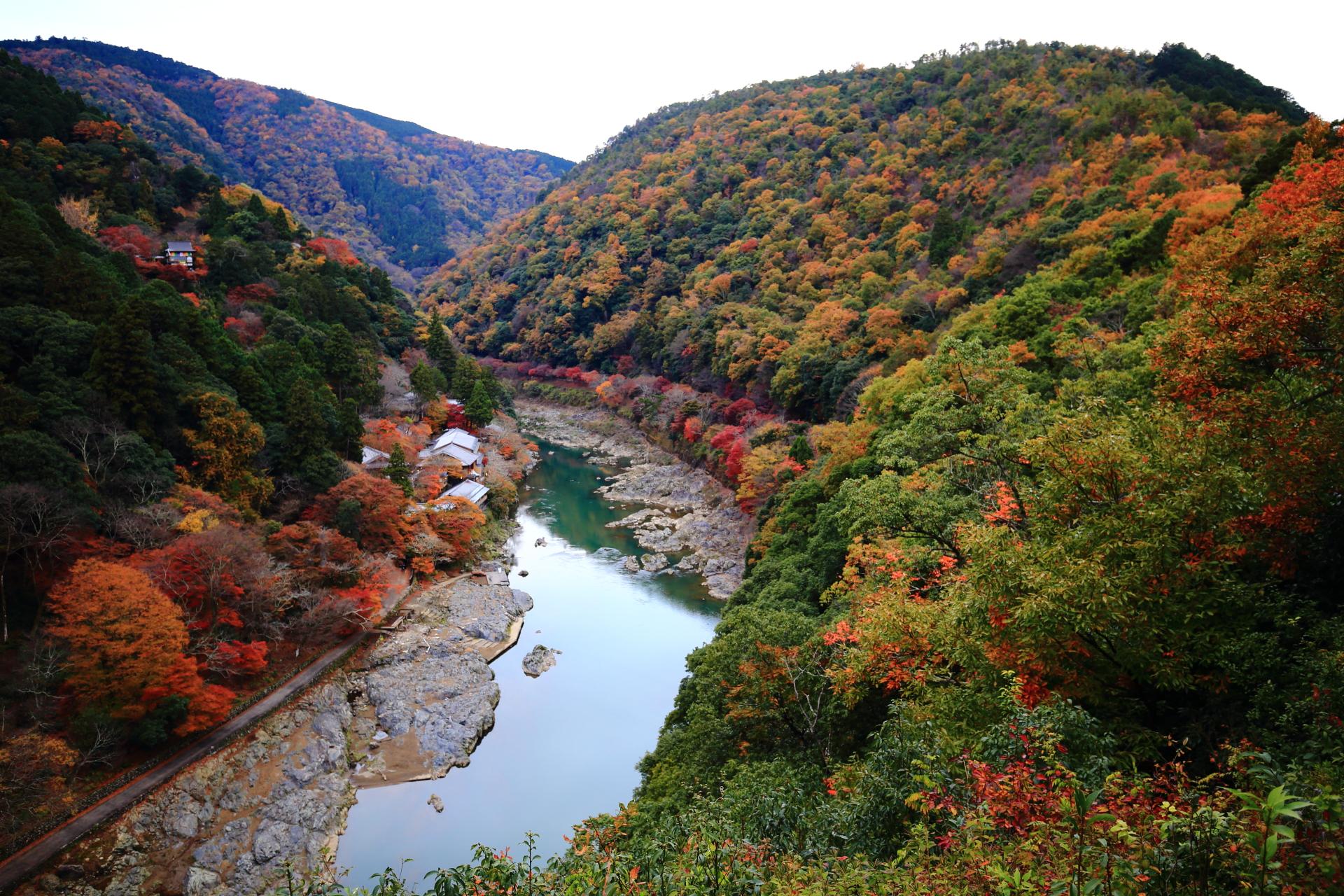 嵐山公園 亀山地区から眺める嵐山と保津峡の秋の風景