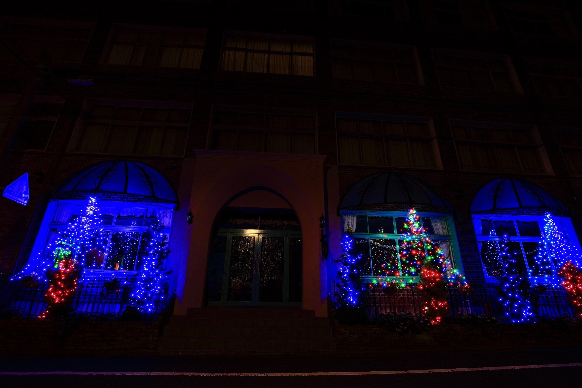 京都平安女学院の綺麗なアグネス・イルミネーション