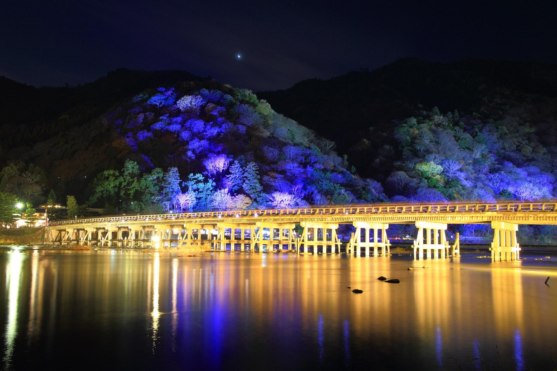 渡月橋 嵐山花灯路 ライトアップ 幻想的
