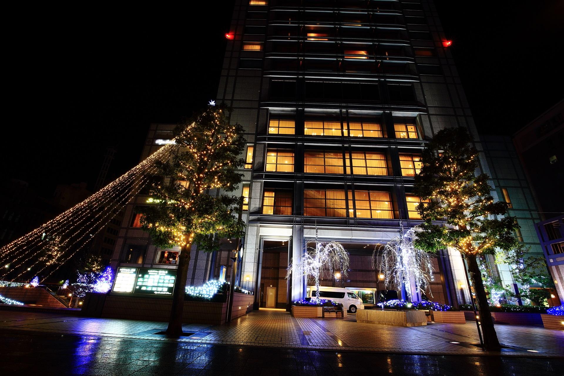 ホテルオークラの街路樹なども飾り付けがされたイルミネーション
