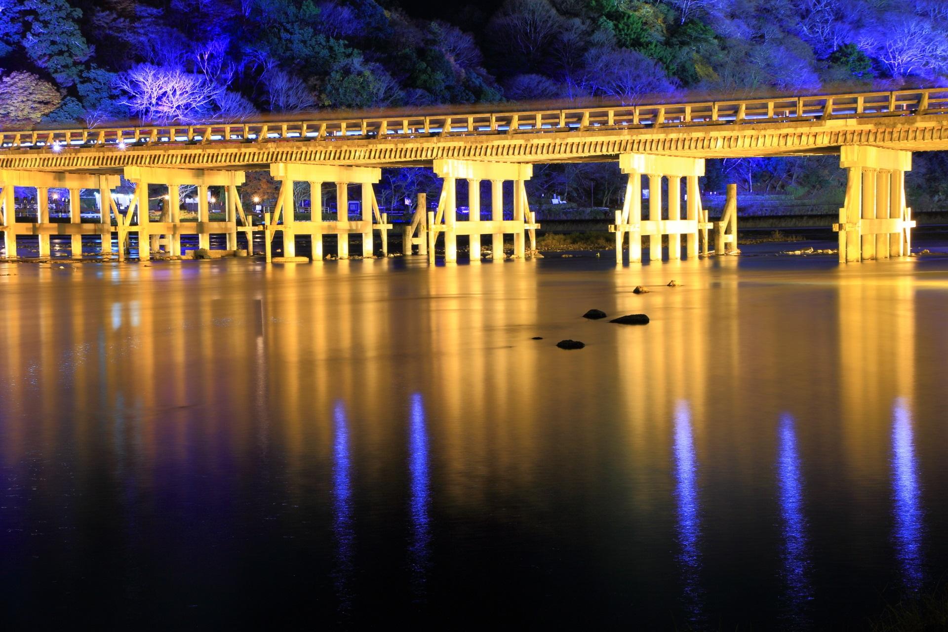嵐山花灯路 渡月橋 保津川 高画質 写真