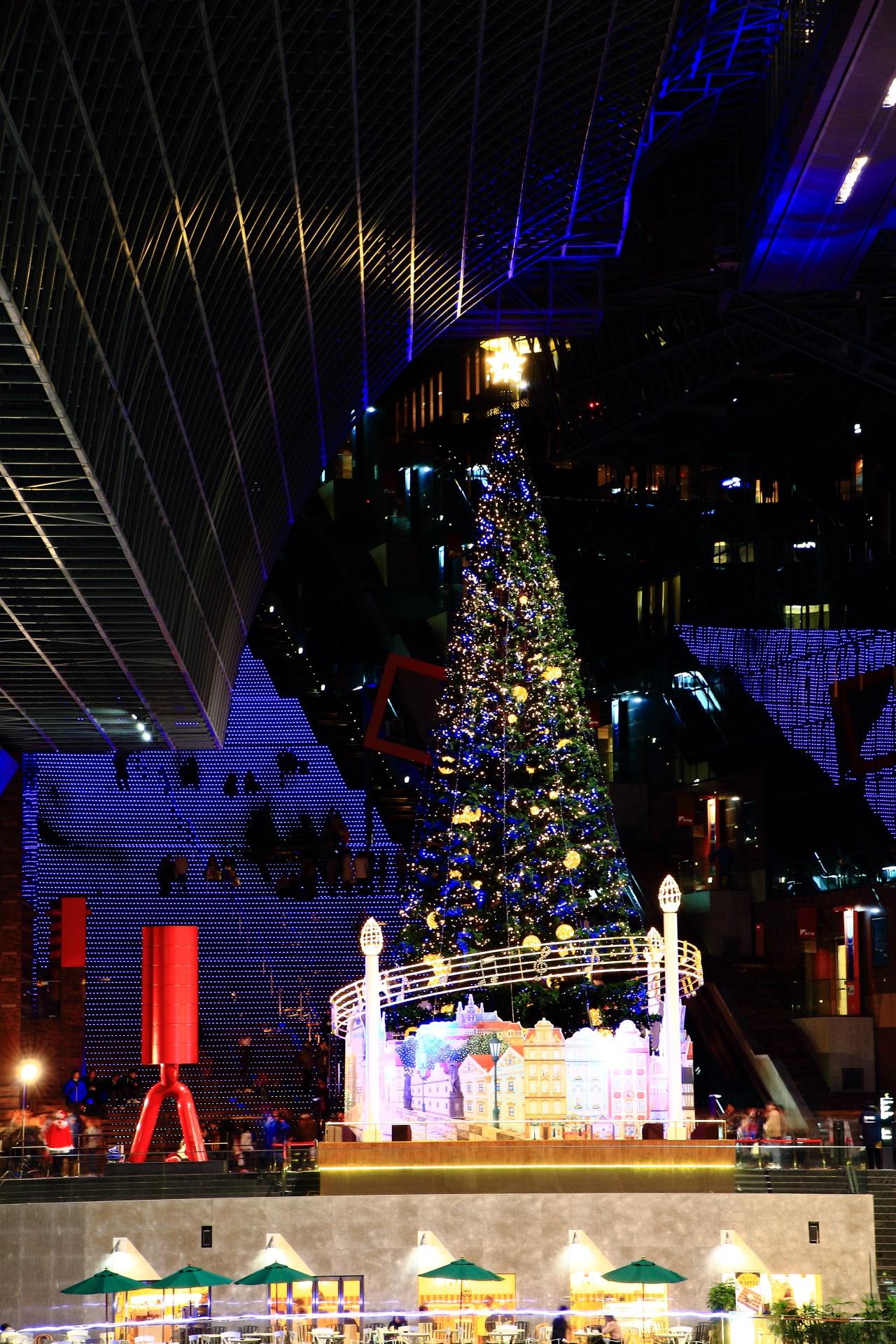 遠目から眺める豪華なクリスマスツリー